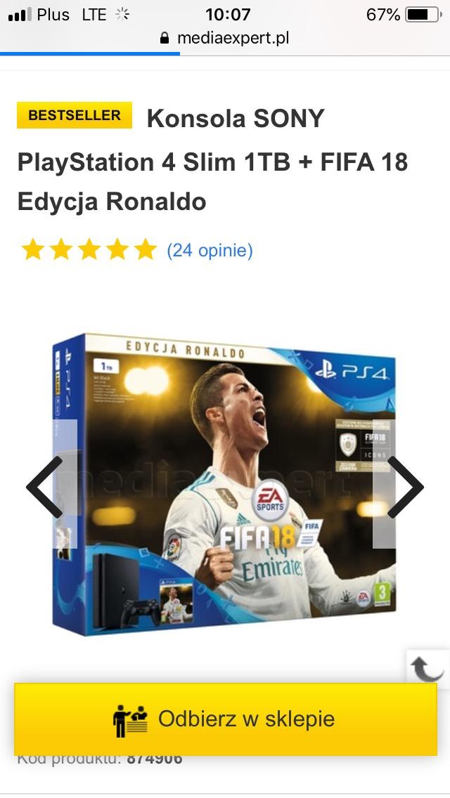 Konsola ps4 1tb + FIFA edycja Ronaldo