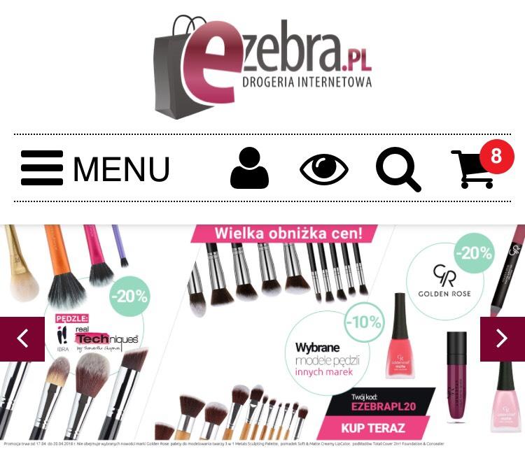 EZEBRA.PL obniżka na wybrane marki makijażowe z kodem rabatowym 20%