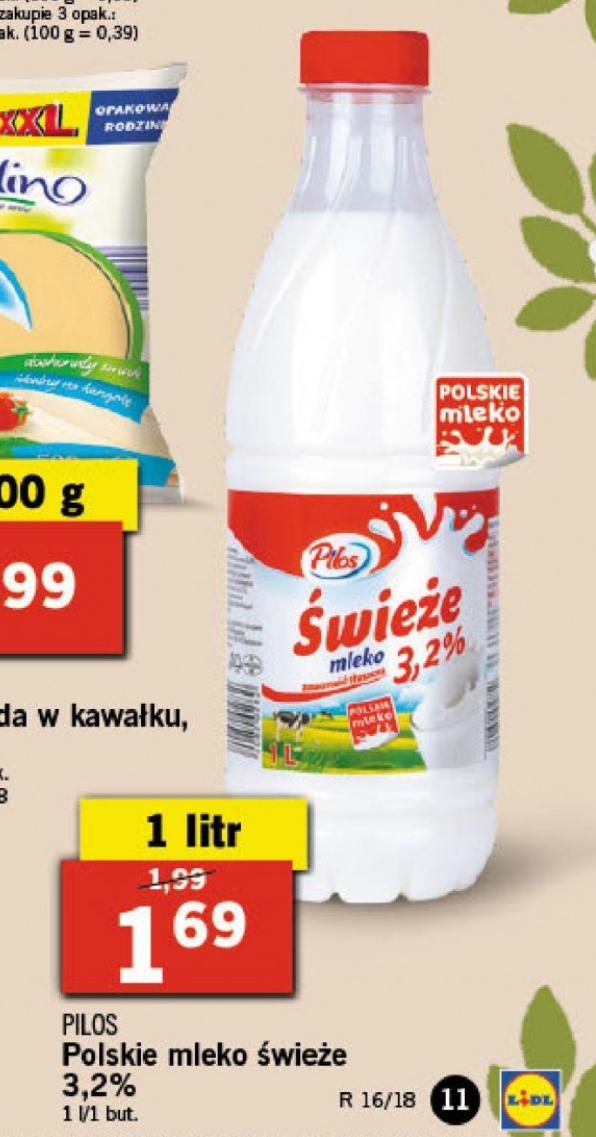 Świeże Polskie Mleko Pilos 1l Lidl