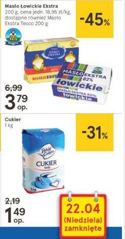 Masło Łowickie Ekstra 200g, cukier 1kg, ręczniki papierowe Tesco