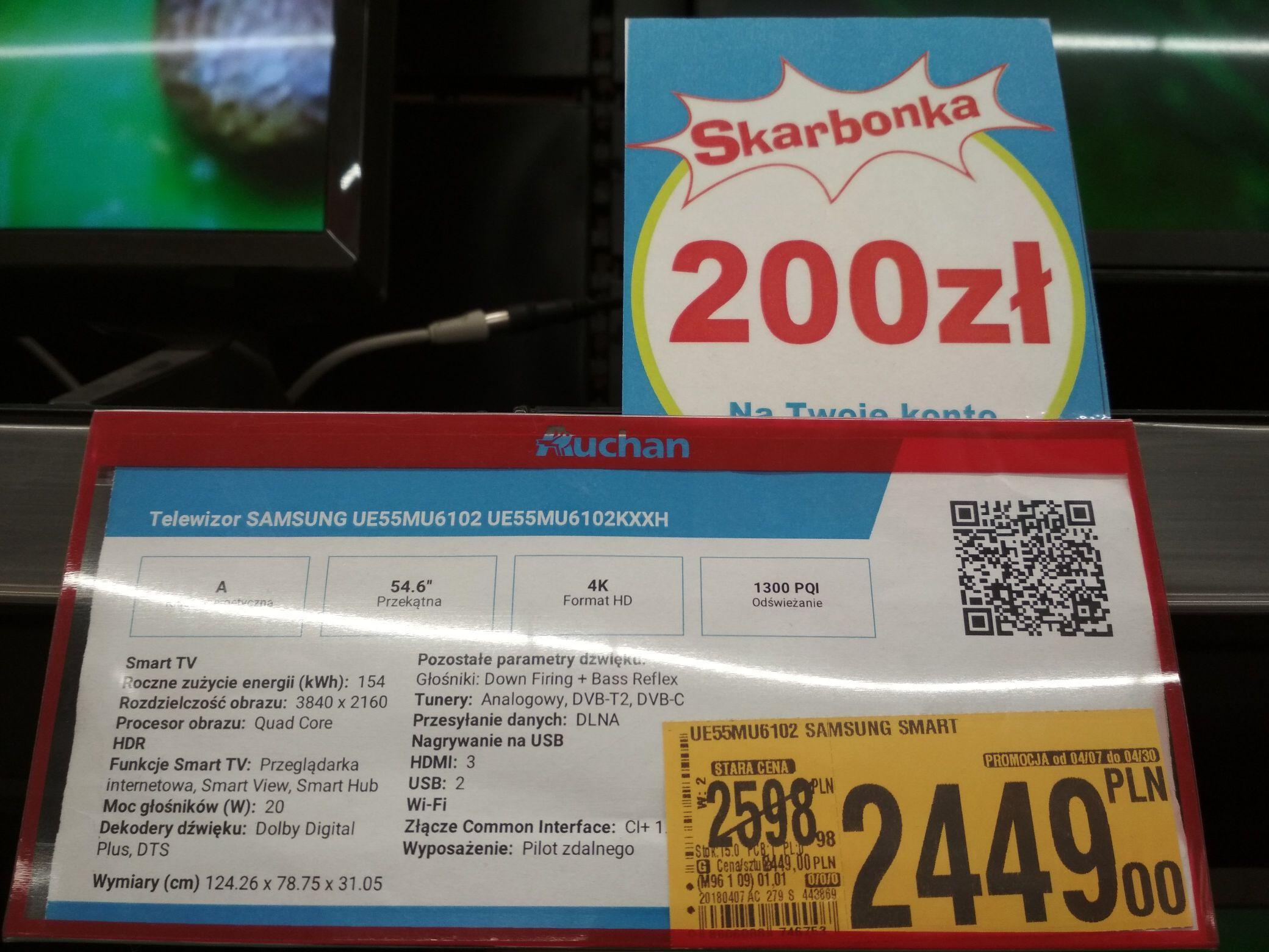 Samsung UE55MU6102 Auchan Bonarka 2449zl. Możliwe 2249zl. (Skarbonka 200zl)