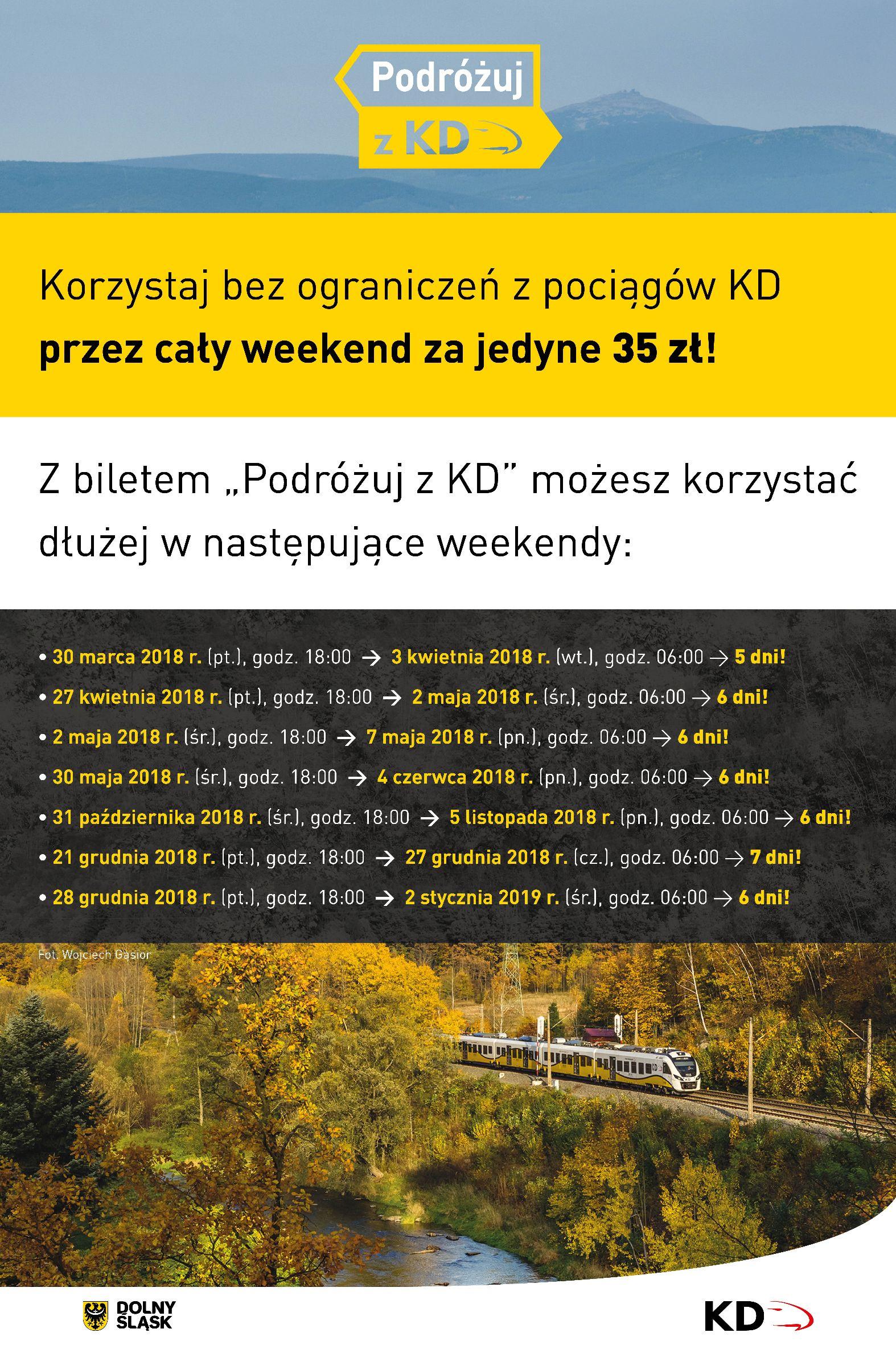 Długie weekendy za 35zł Koleje Dolnośląskie