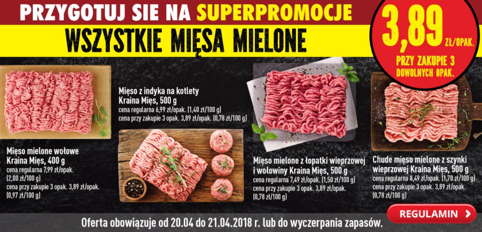W Biedronce mielona wołowina po 9,73 zł/kg przy zakupie 3x 400 g, czyli 1,2 kg za 11,67 zł
