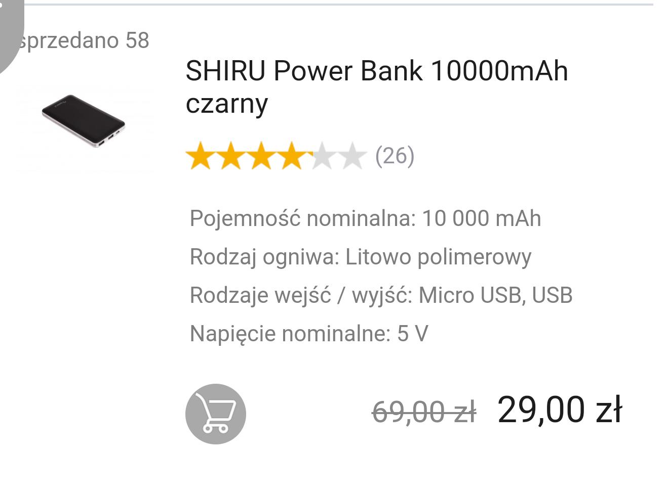 Power Bank Shiru 10000 mAh