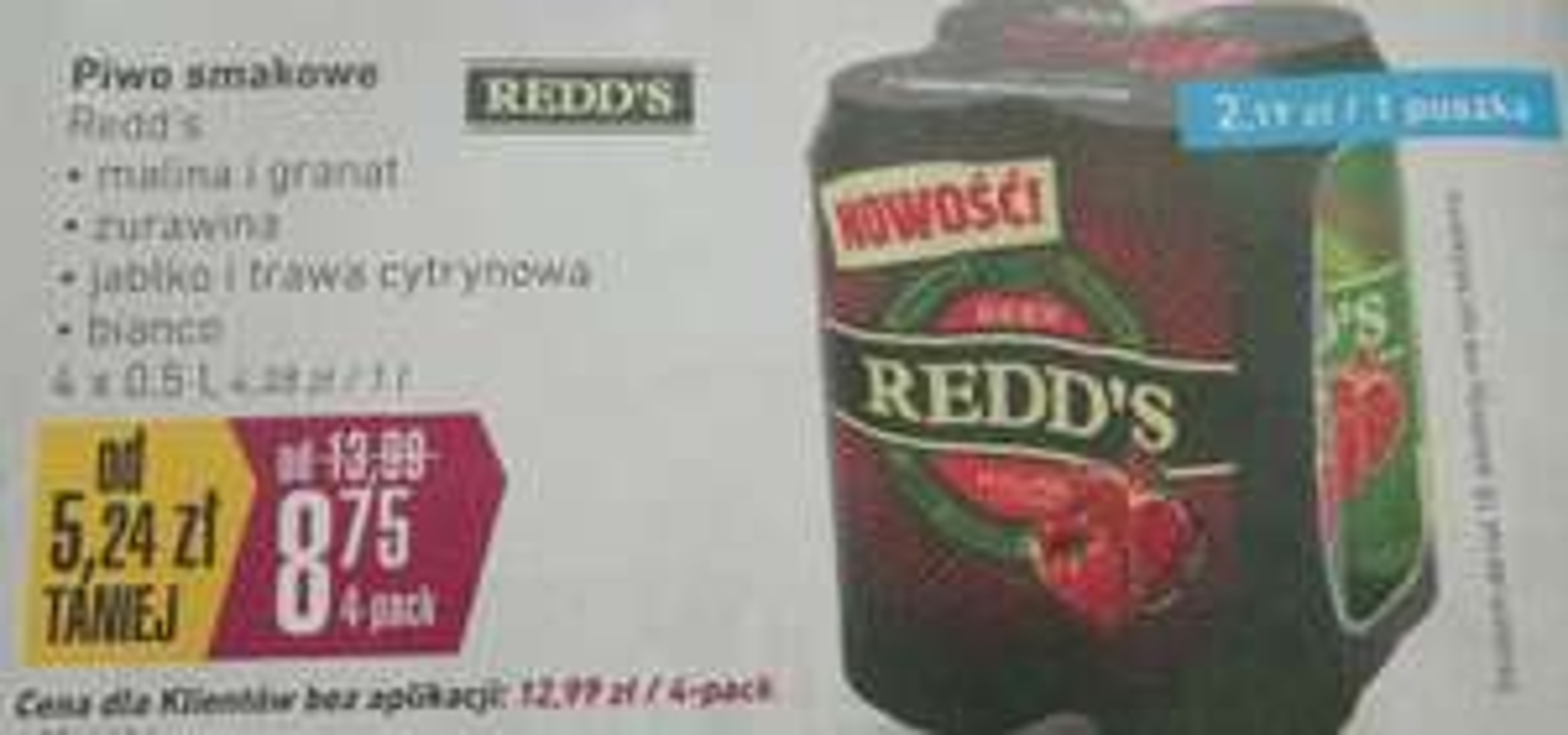 Piwo Redd's w Intermarche 8.75 za 4-pack