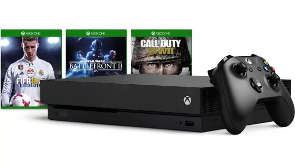Xbox One X 1TB + gra do wyboru FIFA18, CoD WWII, Battlefront II za ~1773zł (509 CHF) @Microsoft Szwajcaria