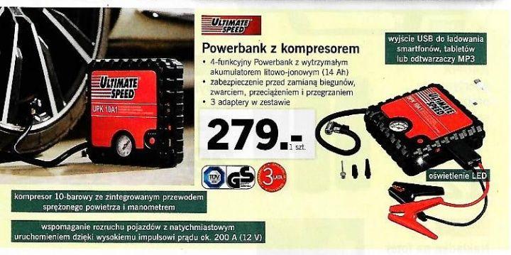 Potezny Powerbank z kompresorem