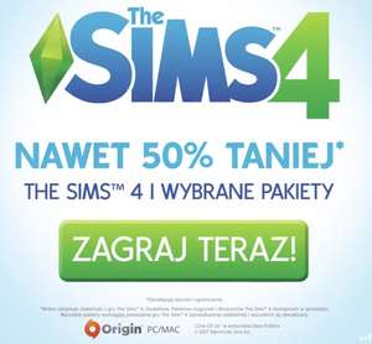 -50% The Sims 4 na Origin (również zestawy)
