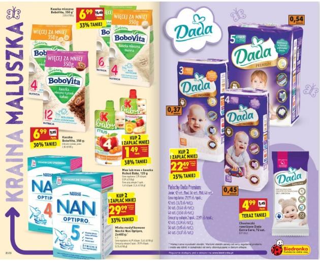 Pieluszki Dada Premium za 22,49zł oraz mleko NAN za 29,99zł (przy zakupie 2szt.) @ Biedronka