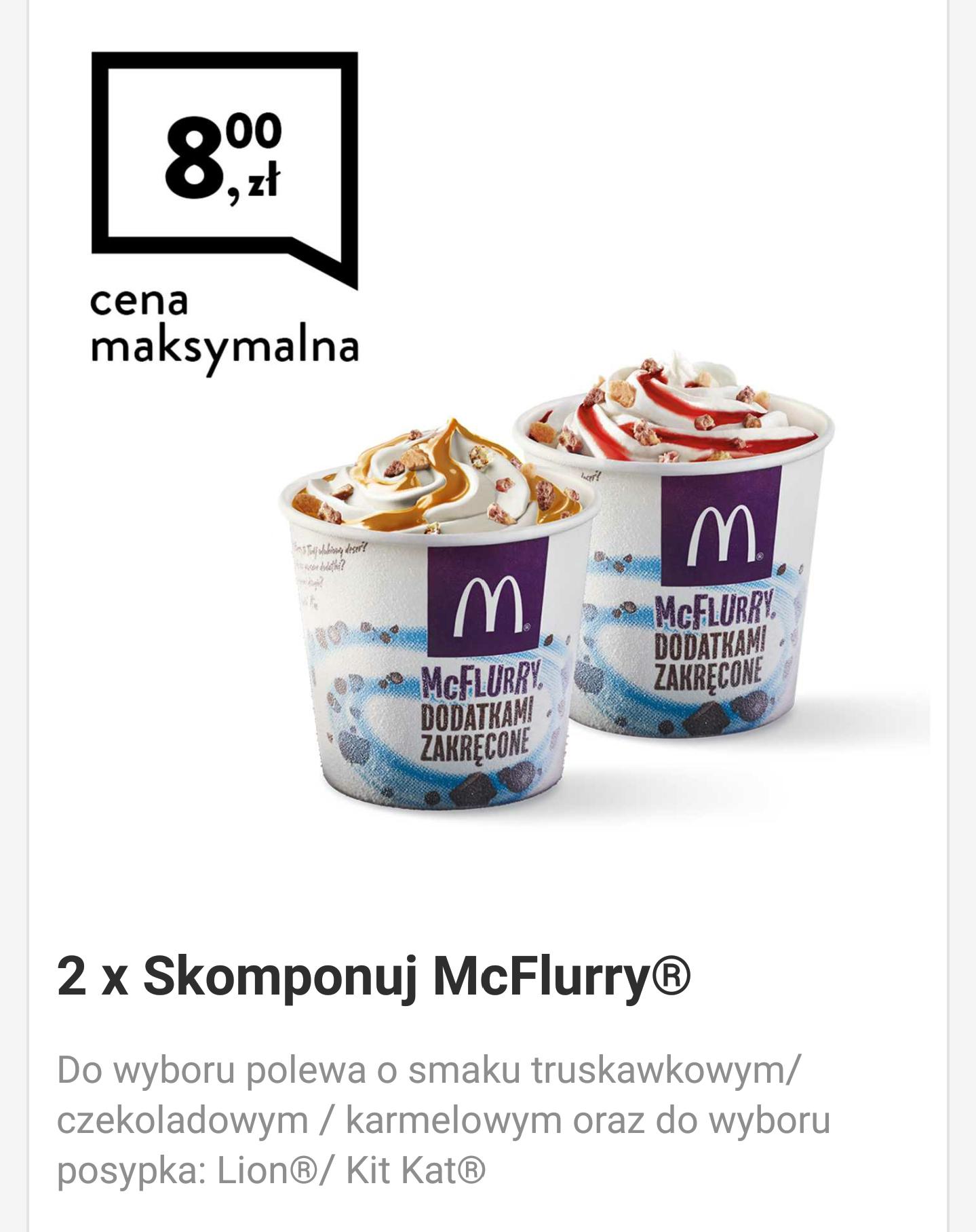 2x McFlurry za 8zł