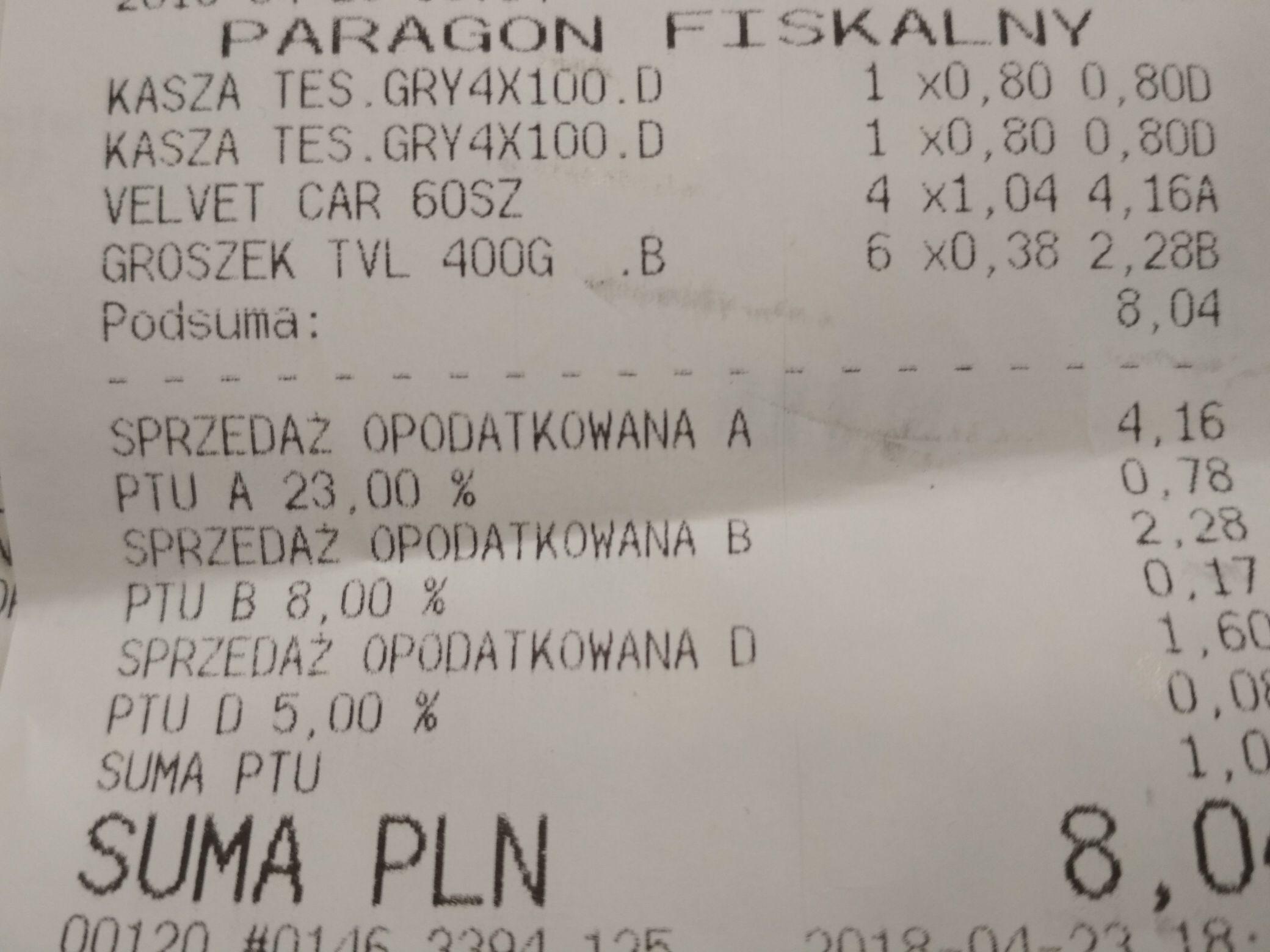Tesco groszek konserwowy 0.38zł kasza gryczana 0.80zł