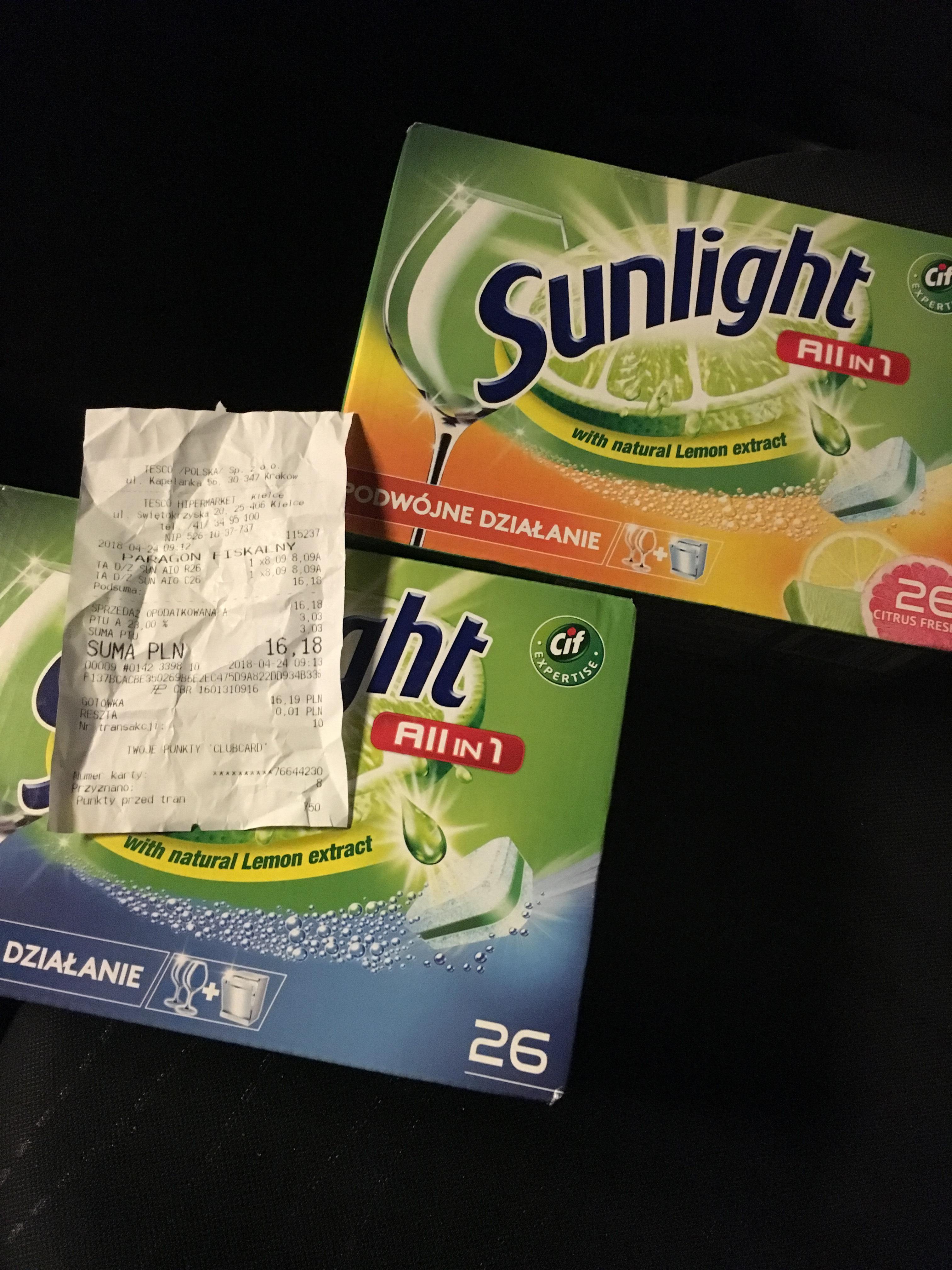Sunlight 26szt - tabletki do zmywarki 0.31zl/szt