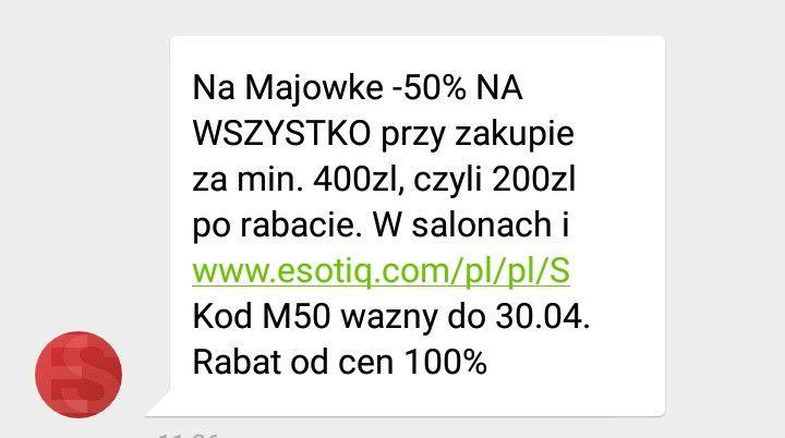 Esotiq bielizna -50% MWZ 400 zł