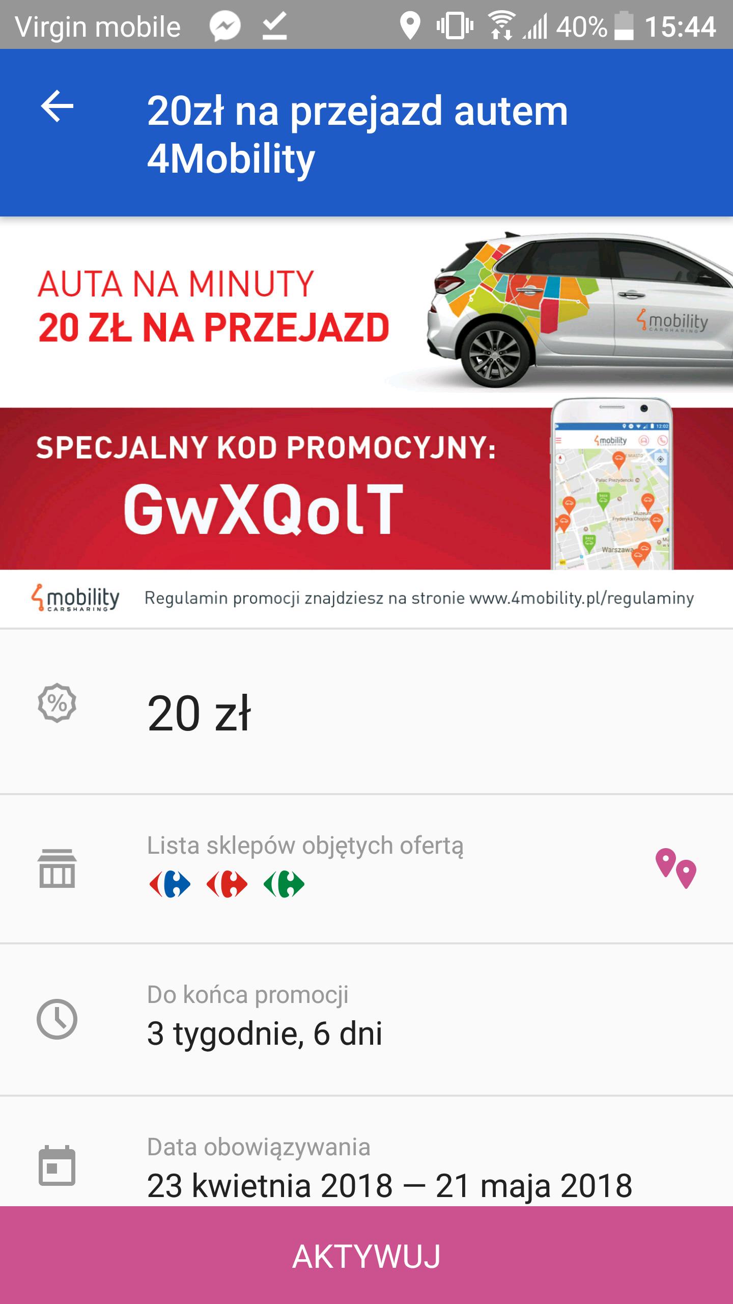 20 zł na 4Mobilty dla posiadaczy aplikacji Carrefour
