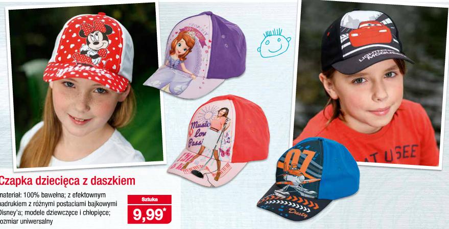Dziecięce czapeczki z daszkiem z bajkowymi motywami w cenie 9,99zł @ Aldi