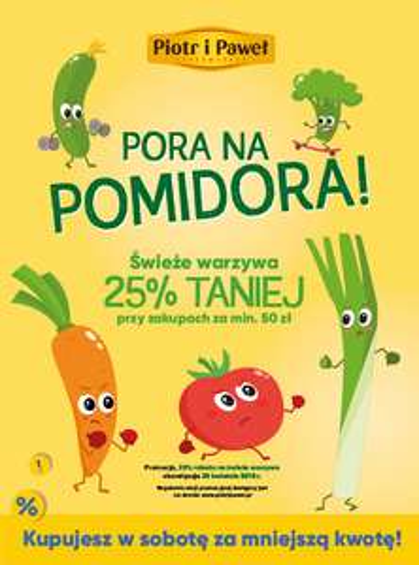 Świeże warzywa 25% taniej w sobotę 28.04 za zakupy za min. 50zł @Piotr i Paweł