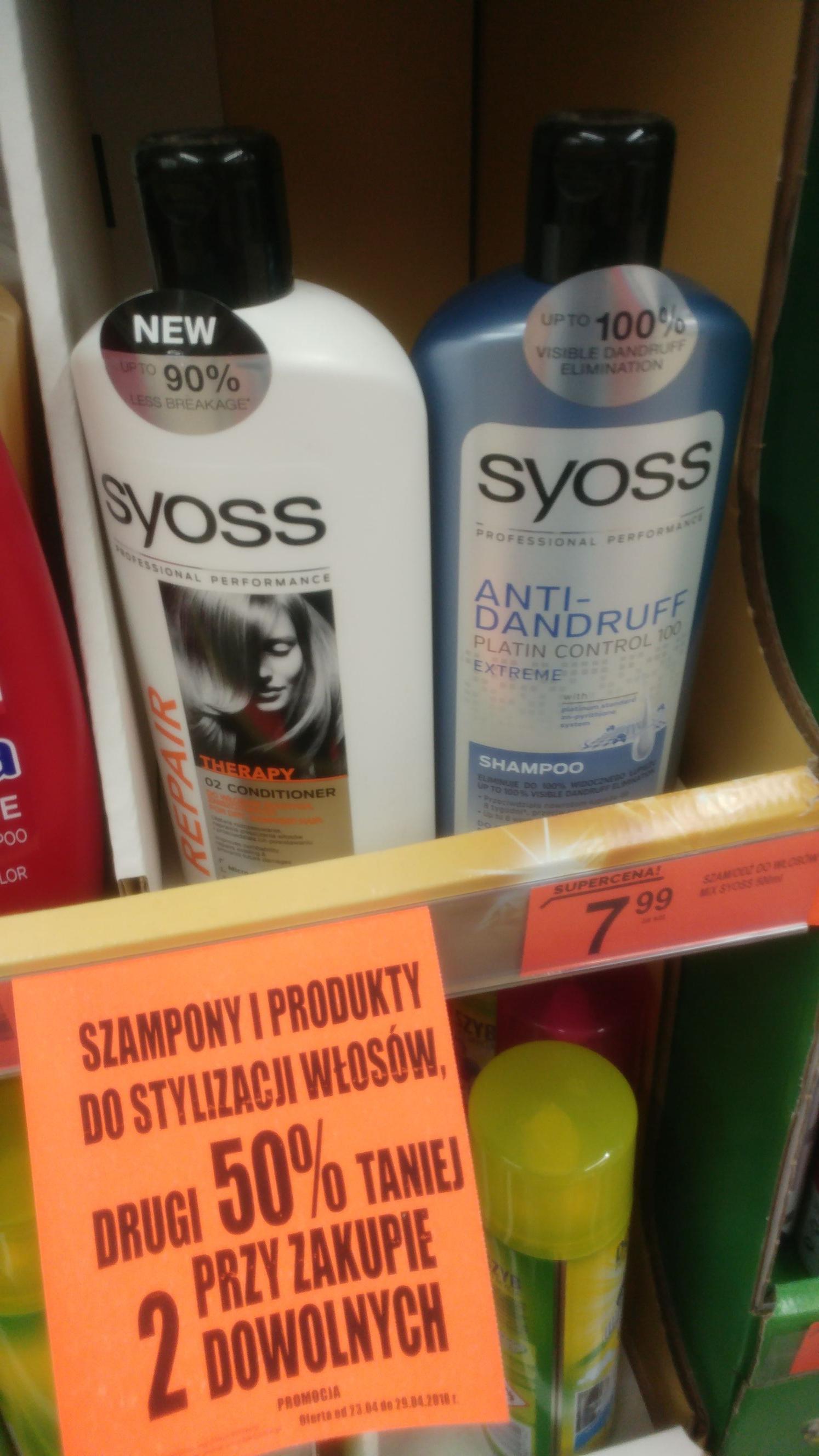 Biedronka szampon odżywka Syoss 500 ml przy zakupie 2 op.