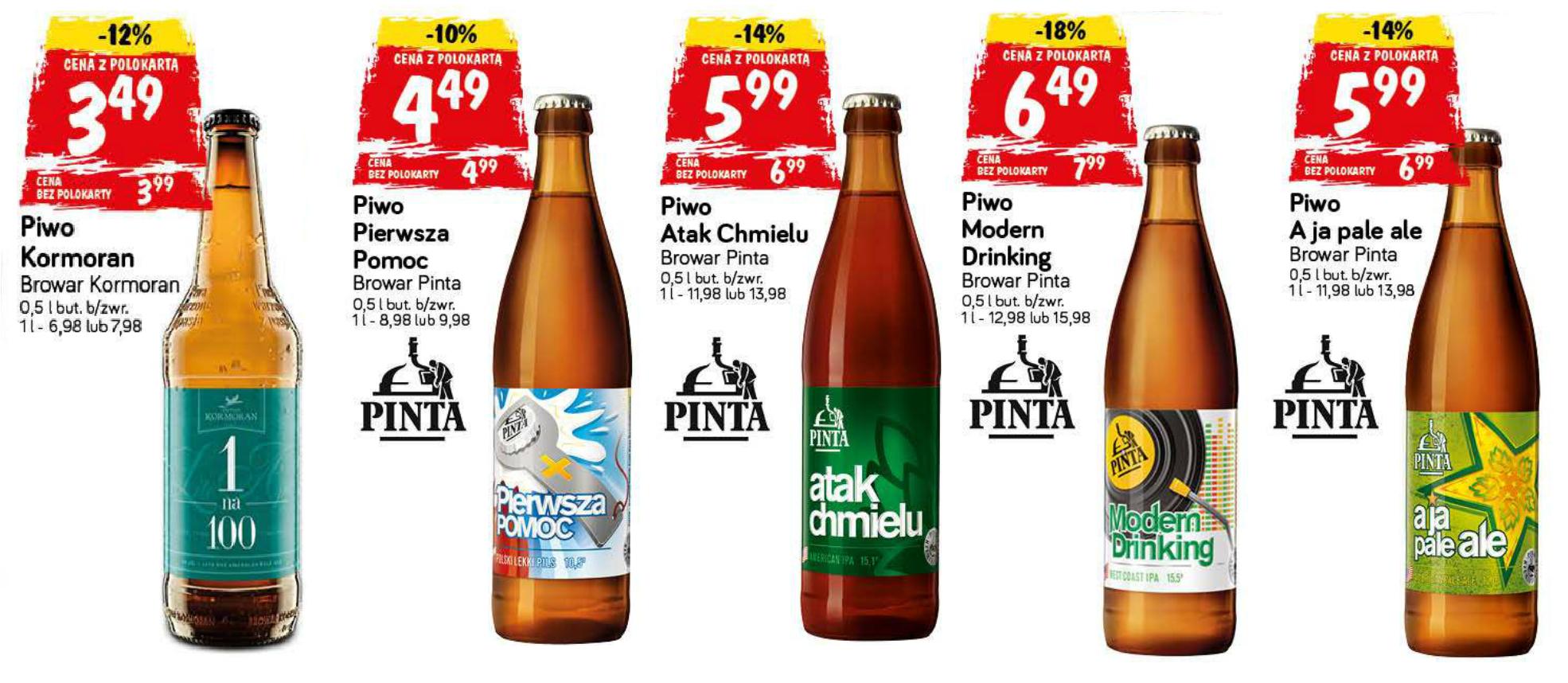 Piwo Kormoran 1na100 (3,49zł) i 4 piwa Pinta (4,49-6,49zł) - ceny z polokartą @ POLOmarket