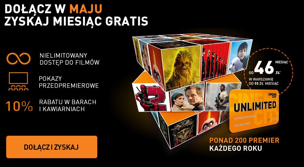 Cinema City Unlimited- dołącz w maju i zyskaj miesiąc gratis ! tj 12+1
