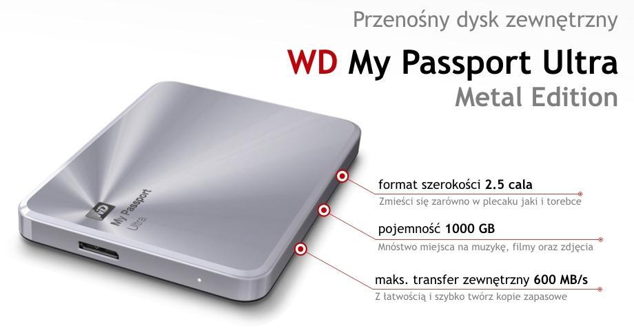 Dysk zewnętrzny 2,5' WD My Passport Ultra Metal Edition 1TB srebrny za 289zł @ Komputronik