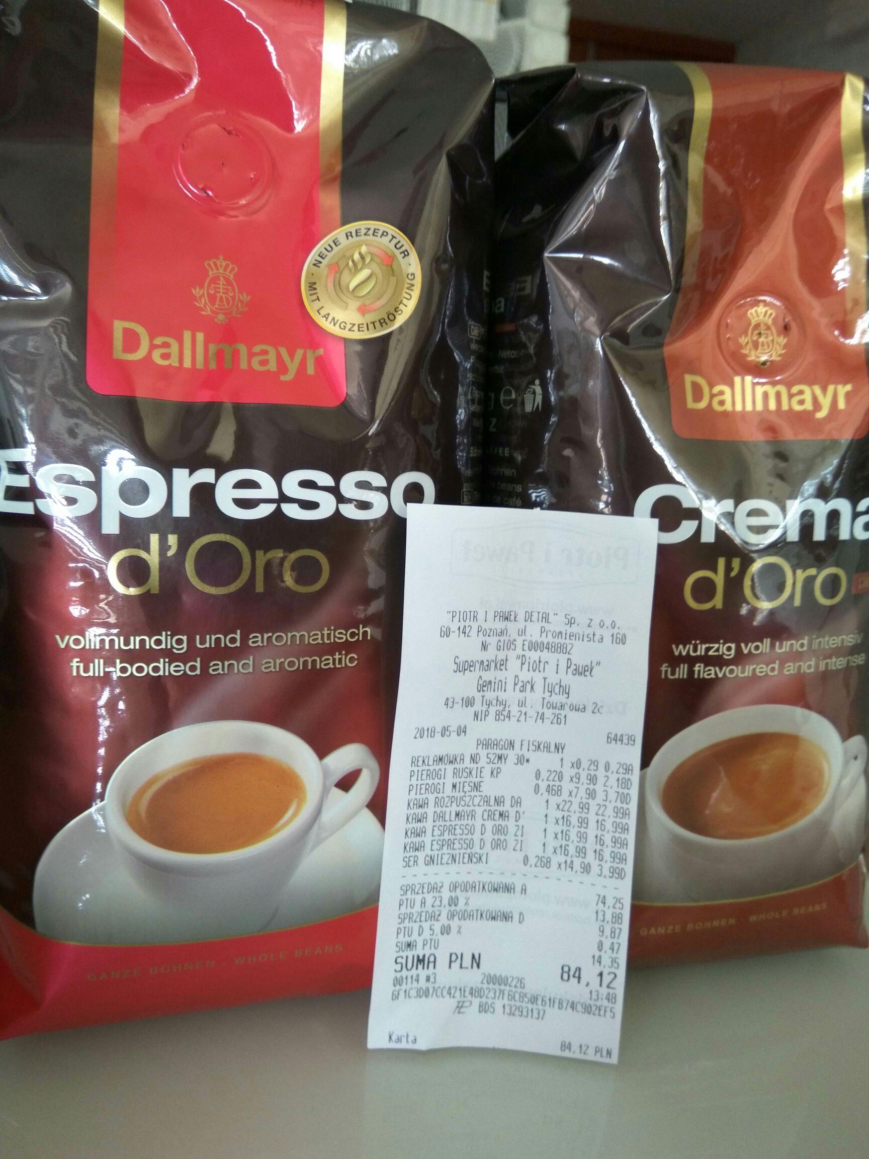 Kawa ziarnista Dallmayr Espresso d'oro 500g i Crema d'oro Intensa 500g / Piotr i Paweł Gemini Park Tychy