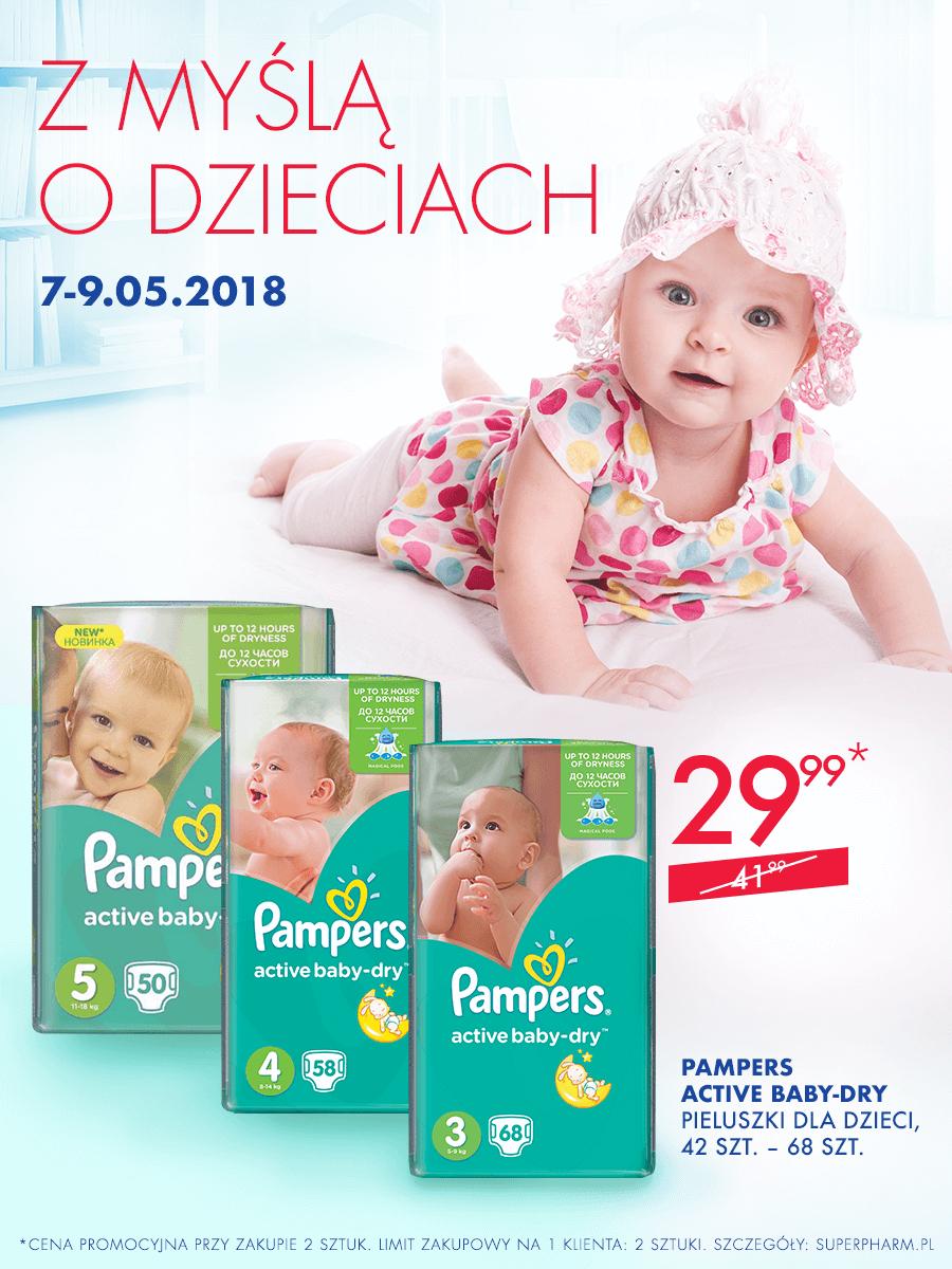 Pampers Active Baby za 29,99zł (przy zakupie dwóch paczek) @ Super-Pharm