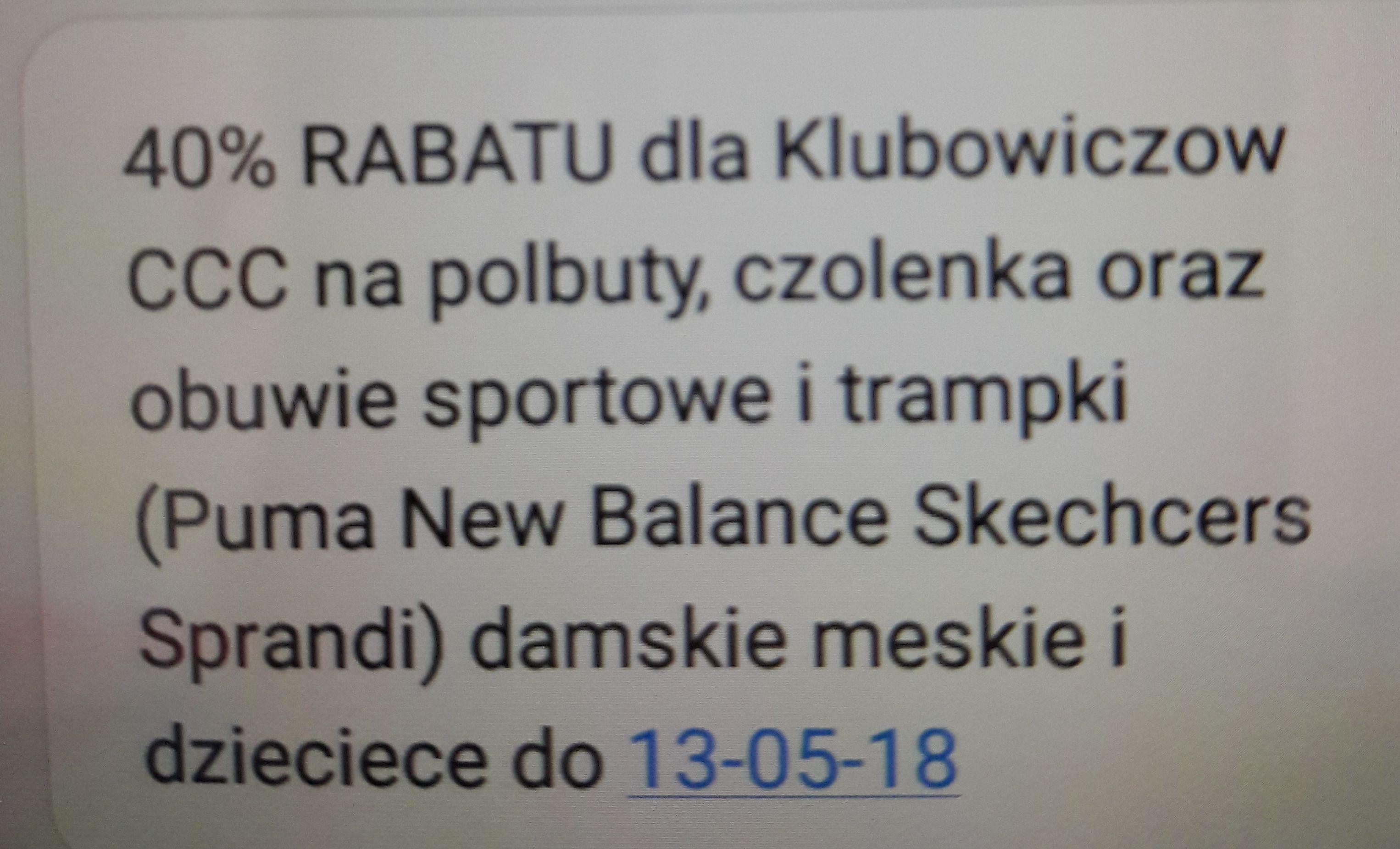 40% Rabatu dla klubowiczów CCC