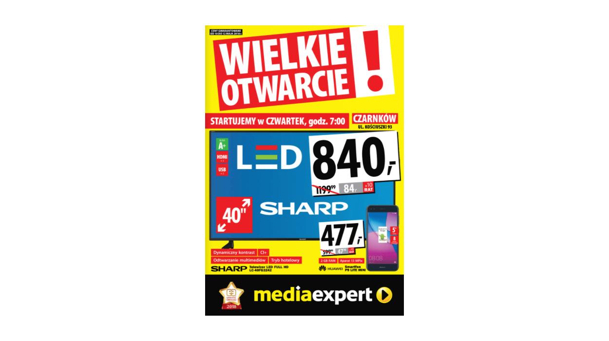"""Czarnków - otwarcie sklepu: TV Sharp 40"""" za 840zł, iPhone SE 32GB za 1111zł, pralka Amica za 549zł i inne @ Media Expert"""