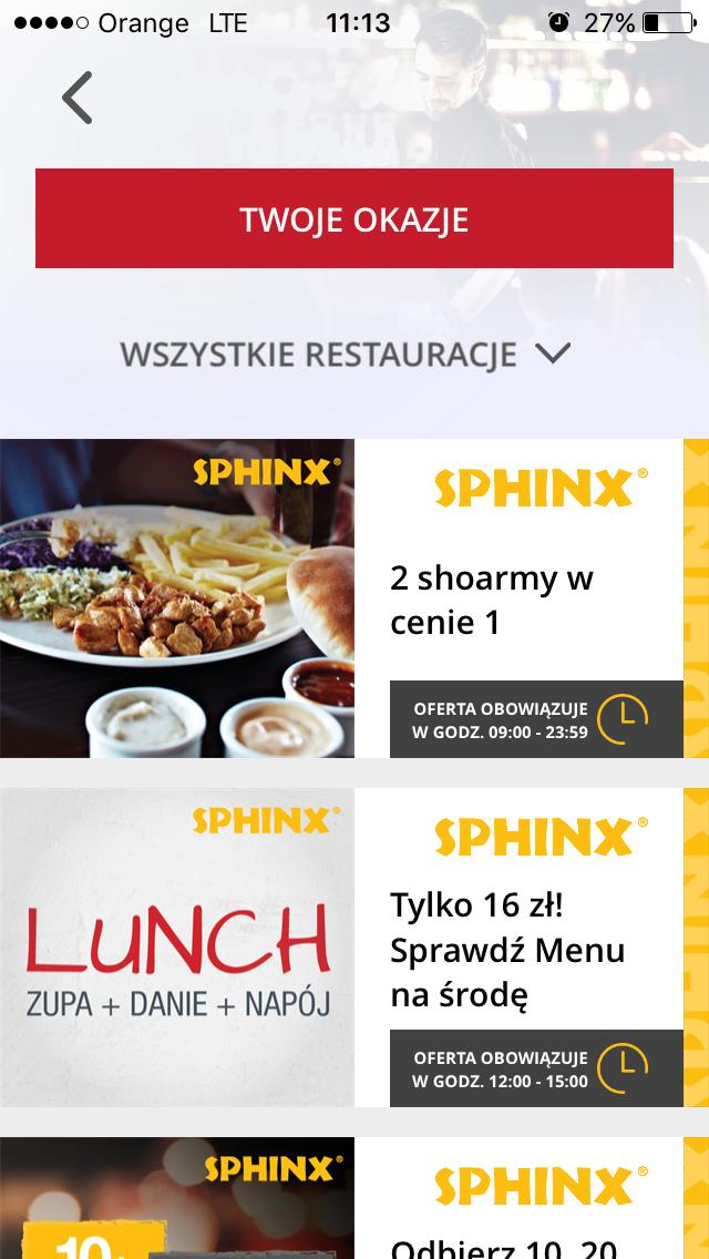 Druga Shoarma gratis (aplikacja Aperitif) @ Sphinx