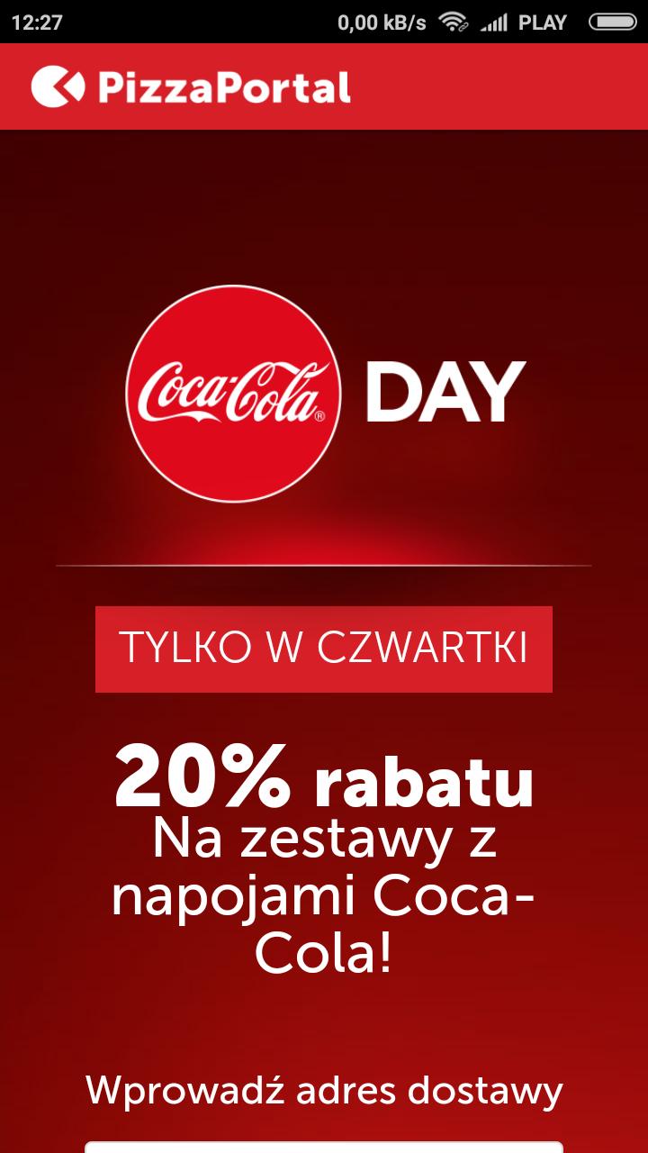 20%rabatu w Pizza Portal  Na zestawyz napojamiCoca-Cola!