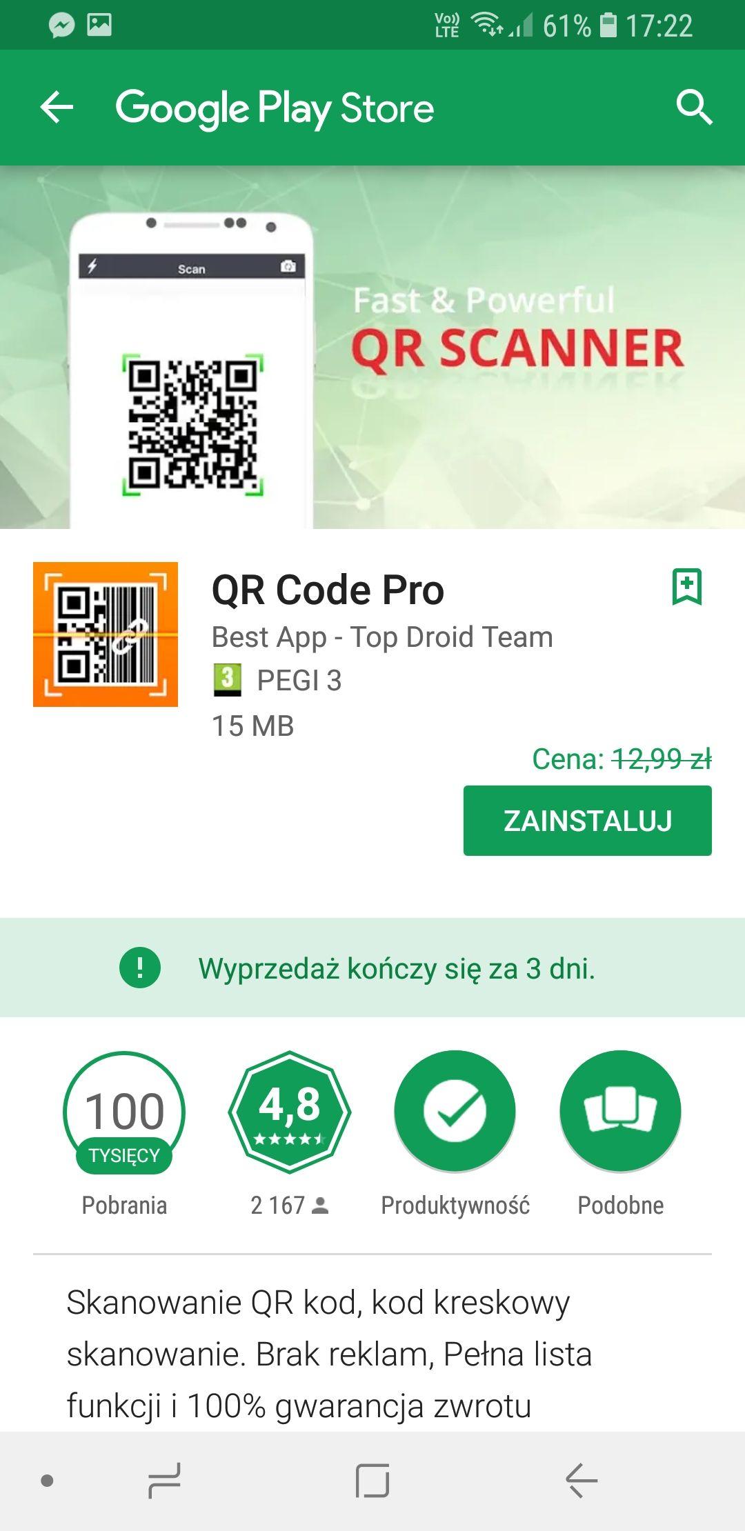 Skaner QR CODE PRO. google play