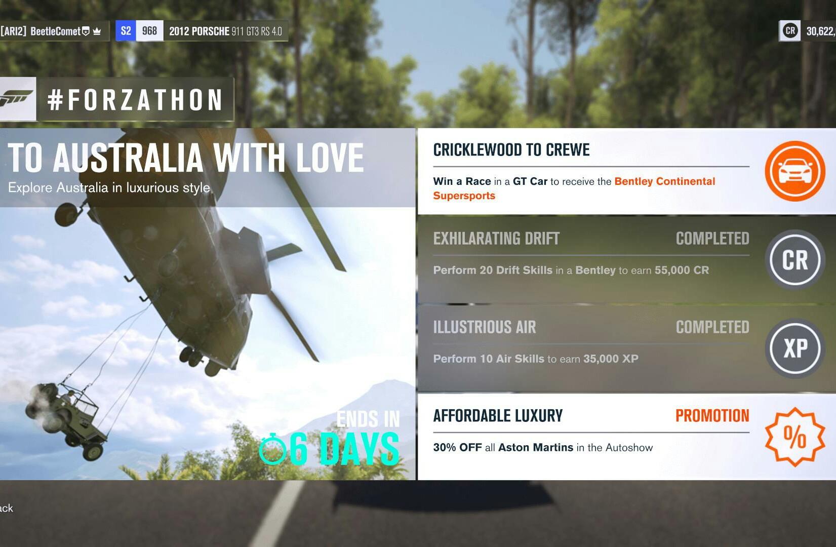 Forza Horizon 3: Forzathon 50 dostępnych osiągnięć, nagrody: 13 samochodów, 665000XP, kredyty, losowania