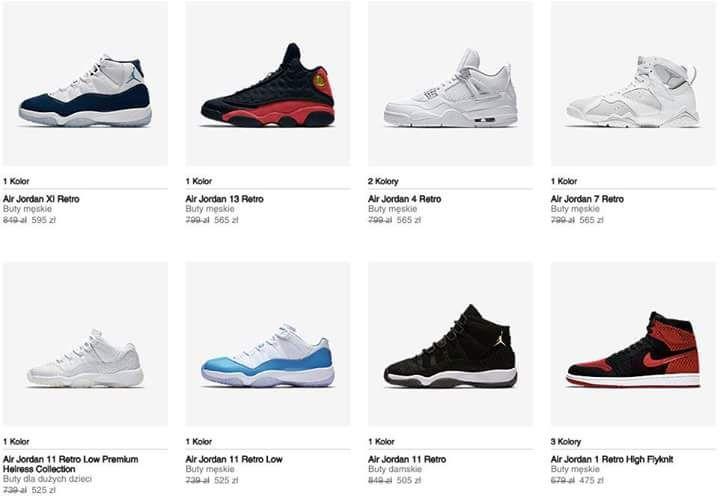 Wyprzedaż butów Jordan Retro @ Nike