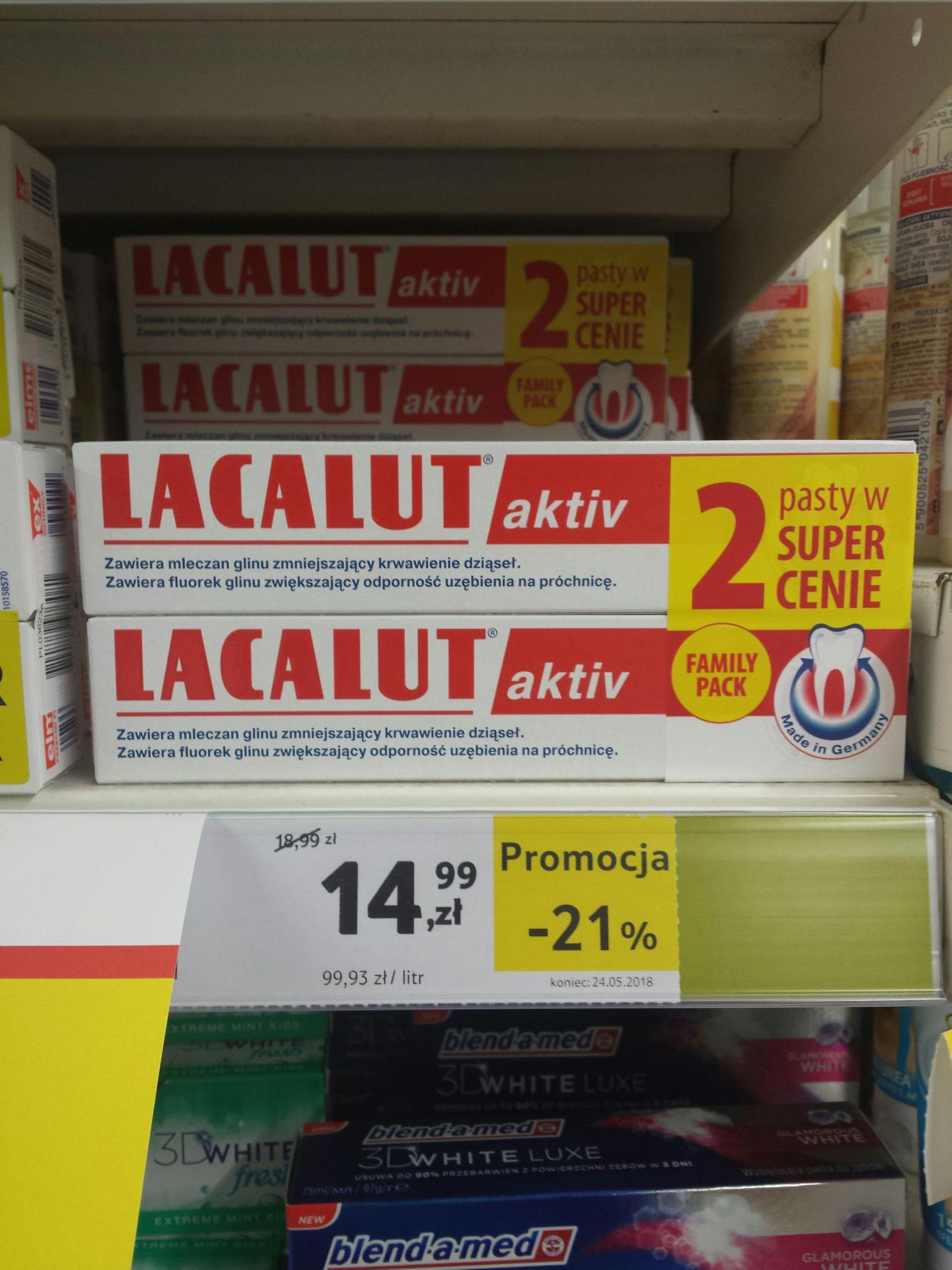 7.49 PLN za opakowanie.2x Pasta do zębów Lacalut Active 75 ml