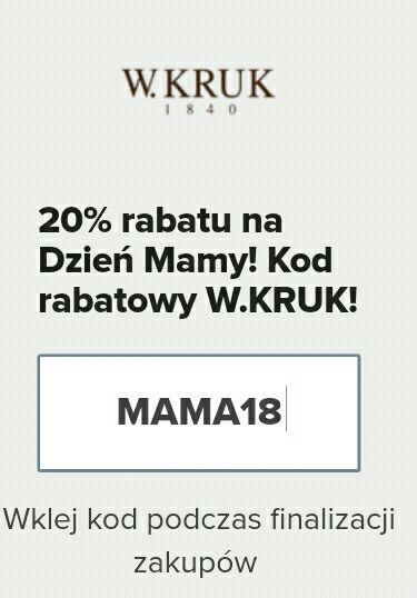 Kod rabatowy-20% na Dzień Matki w W.KRUK!