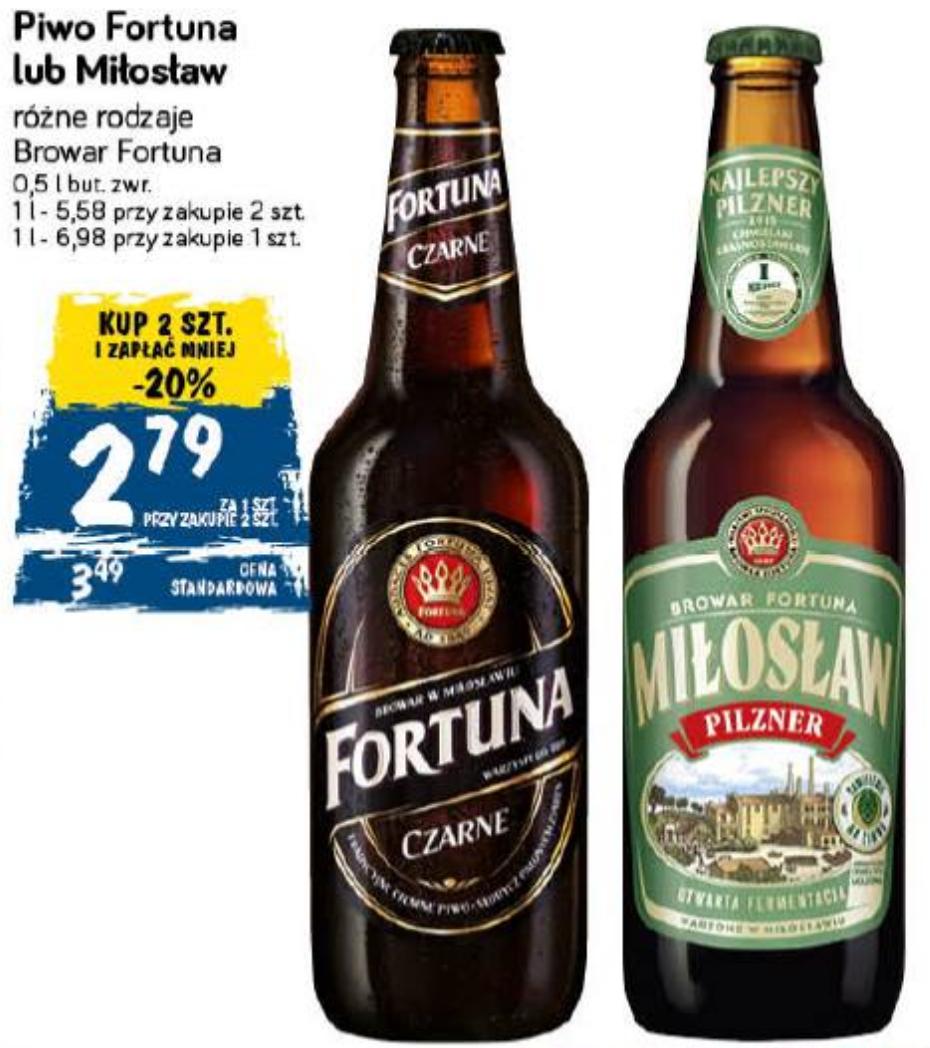 2x piwo Fortuna i/lub Miłosław - różne rodzaje (2,79 zł za jedno) @ POLOmarket