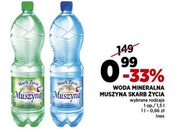Woda mineralna Muszyna 1,5l (0,99zł) @ Piotr i Paweł