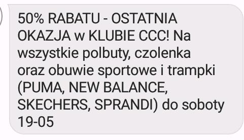 50% RABATU dla klubowiczów CCC do 19-05