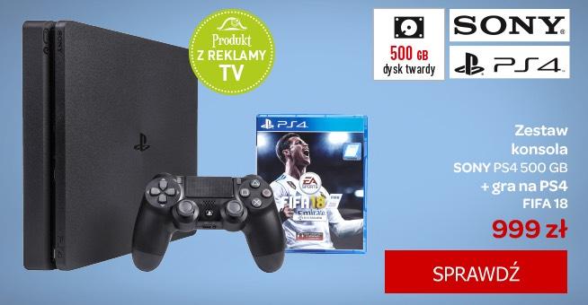 Konsola PS4 + FIFA 18 za 999 zł. Raty 0%