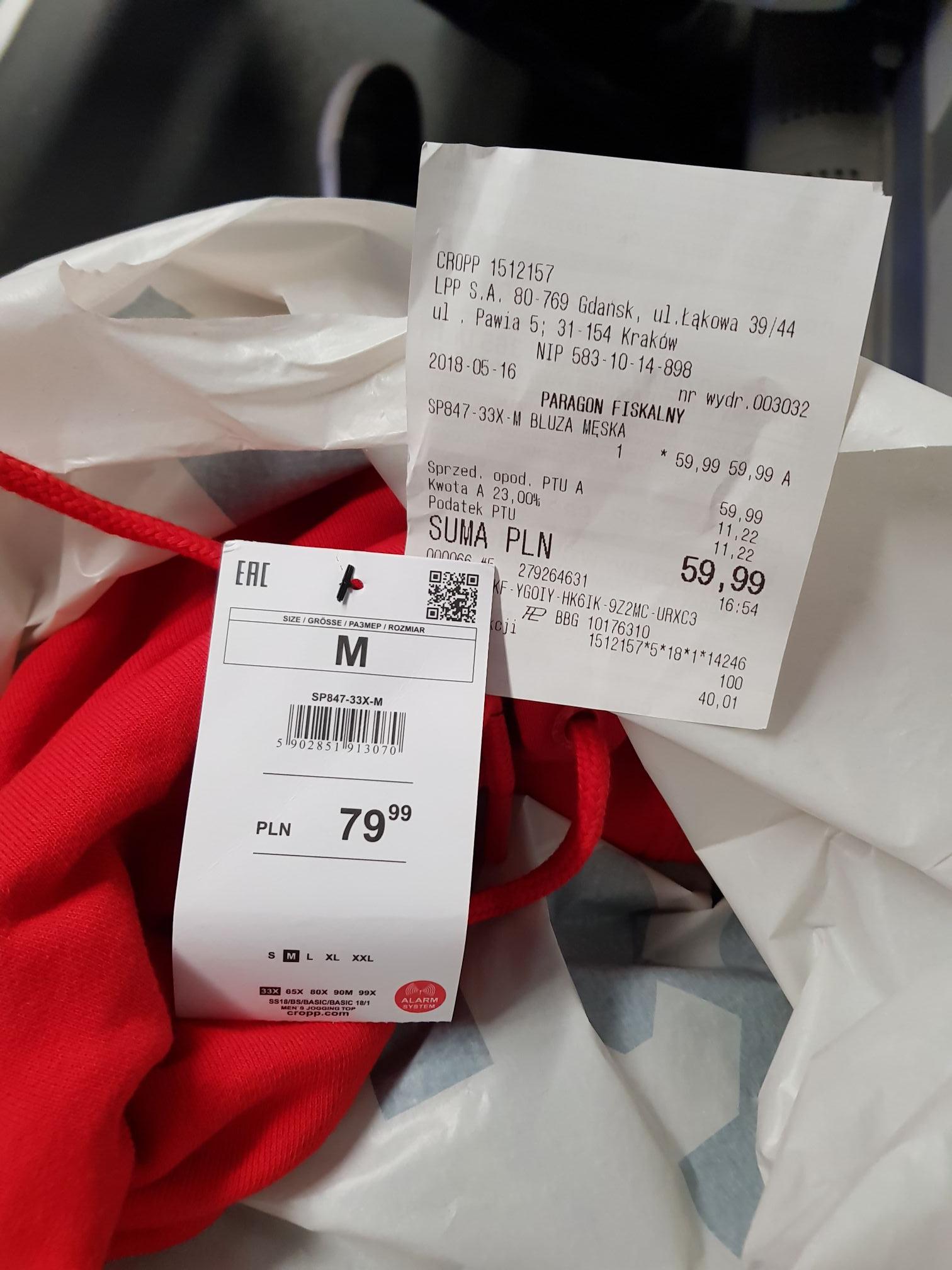Błąd cenowy CROPP męska czerwona bluza