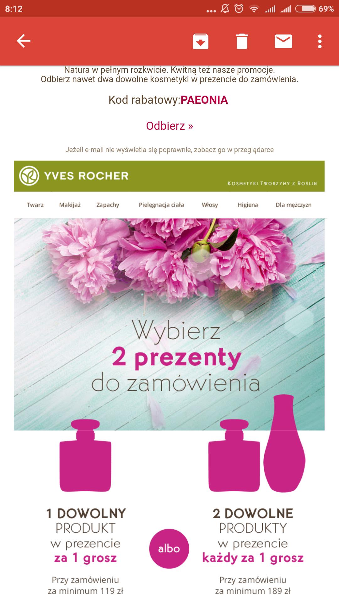 Yves rocher 2 produkty za 1 grosz badz 1 produkt za 1 grosz + pomadki