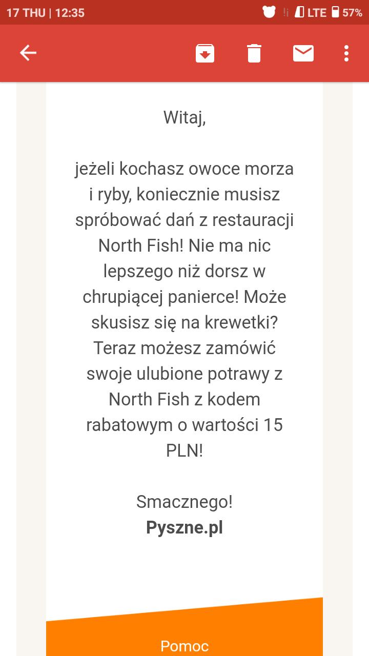 -15zł do NORTH FISH od Pyszne.pl MWZ 40PLN
