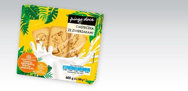 Ciastka ze zwierzakami Pingo Doce. 600g.