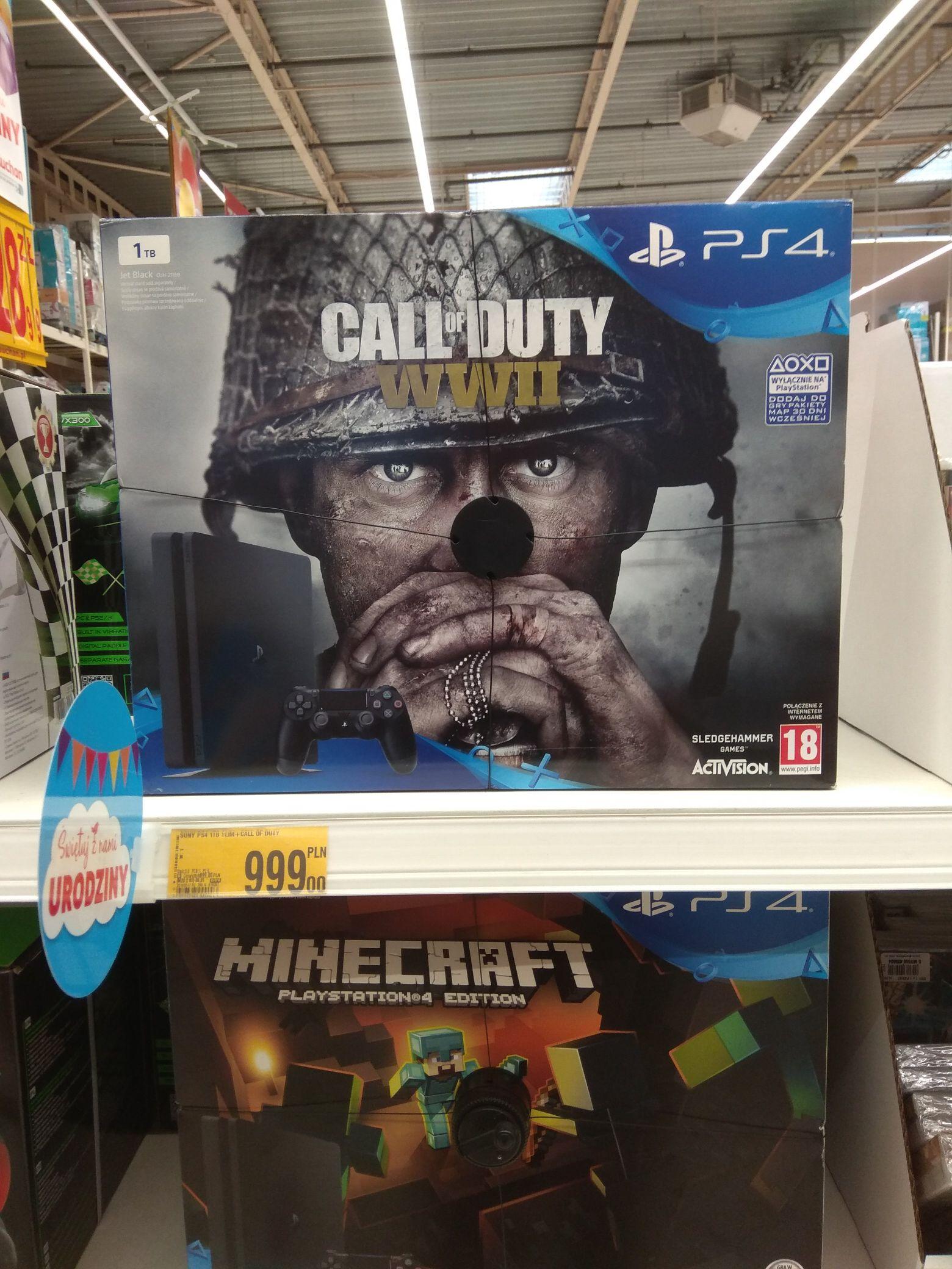 PS4 SLIM 1TB + COD WWII za 999 zł w Auchan