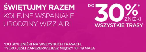 Urodziny Wizz Air: do 30% zniżki na loty dla wszystkich