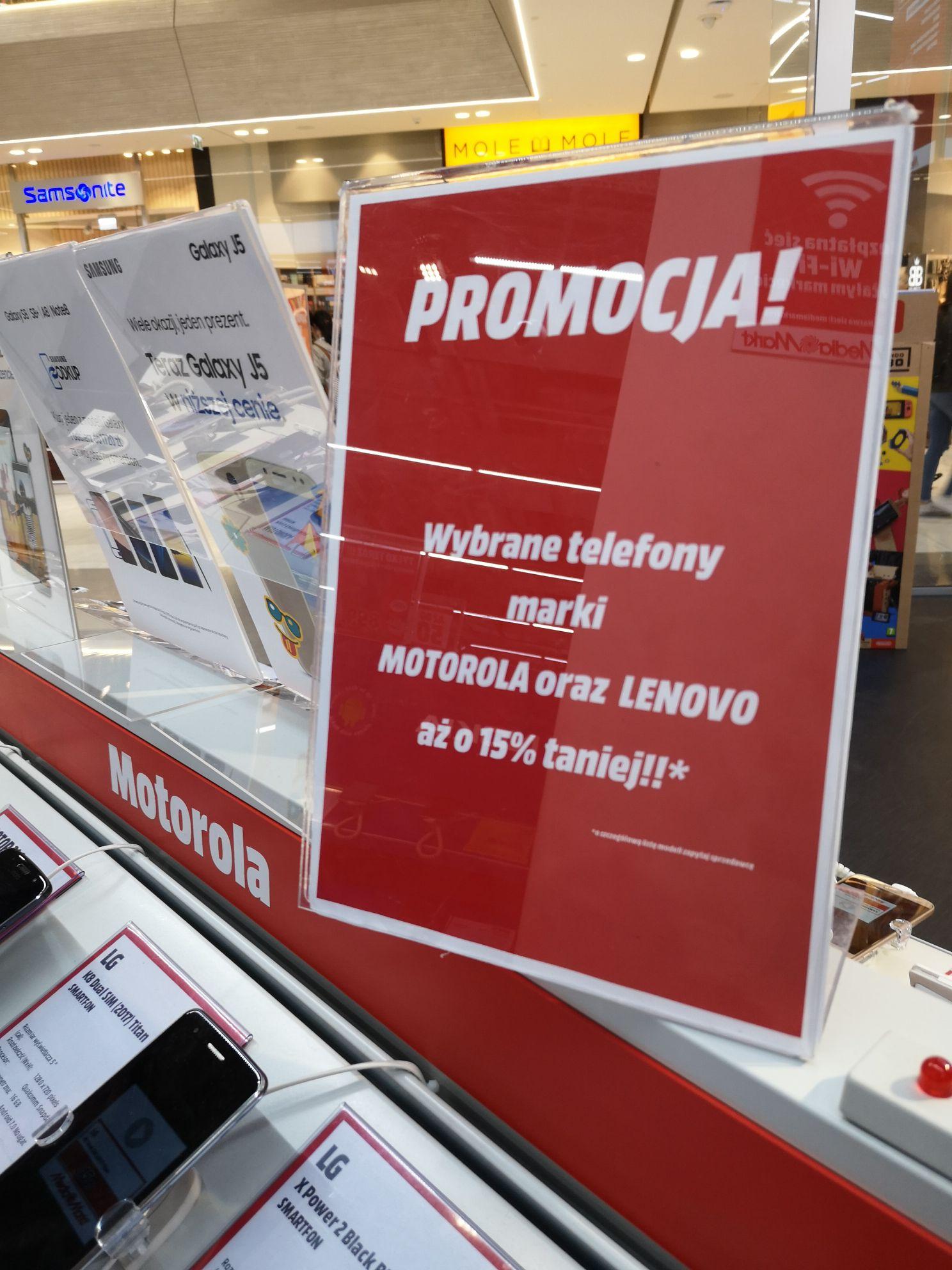 Lenovo i Motorola 15% taniej (między innymi Moto G5s) Media Markt Wrocław Wroclavia