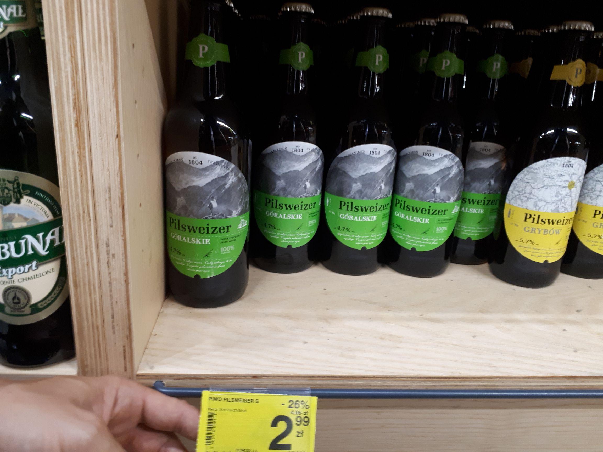 Piwo Pilsweizer Goralskie 0.5l but bez Carrefour