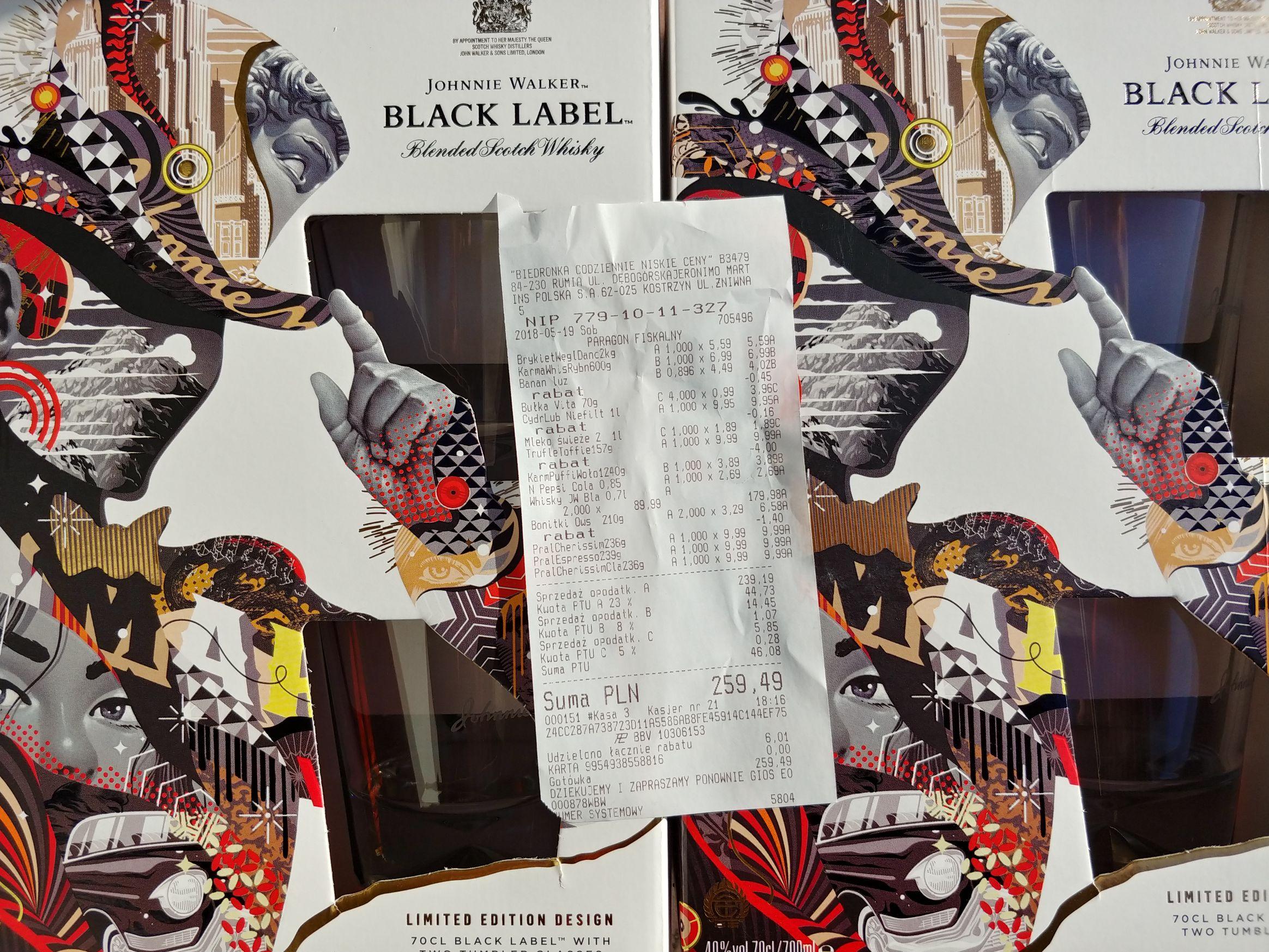 Black Label 0,7 + 2 szklanki, biedronka