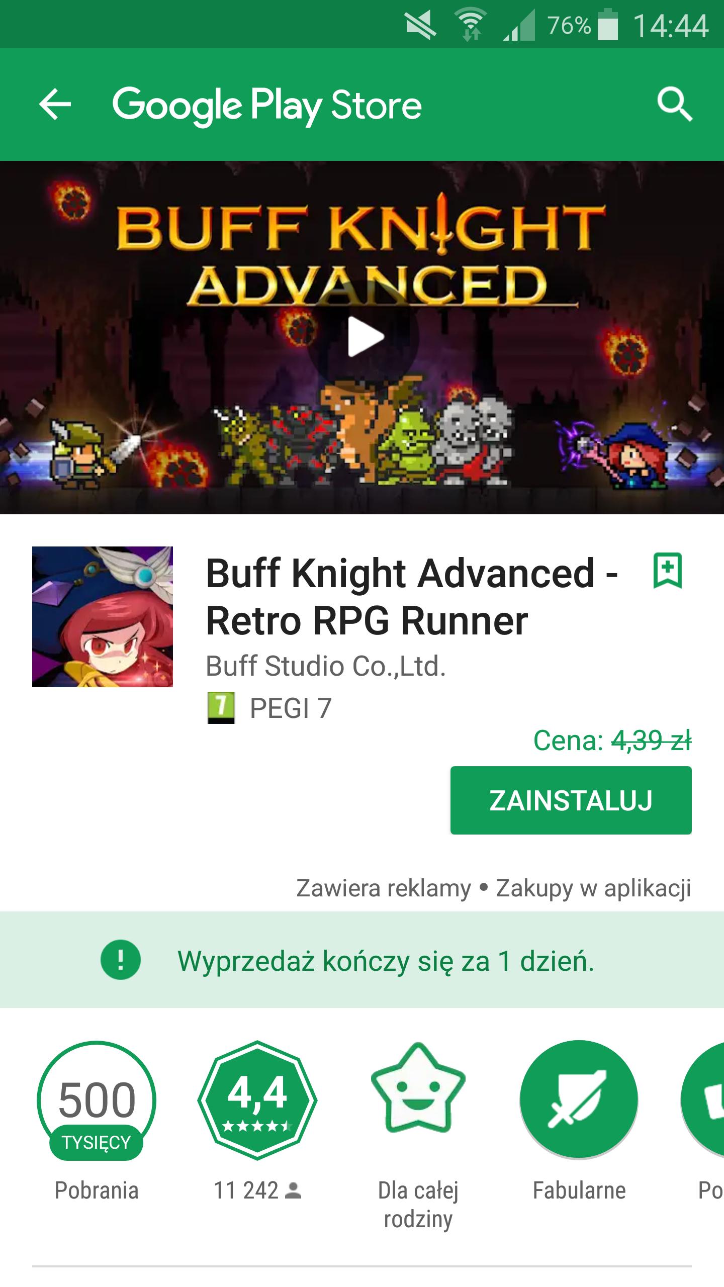 Buff Knight Advanced- Retro RPG Runner. W opisie wiecej gier przecenionych