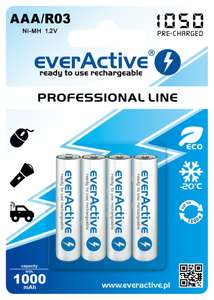 "4x akumulatorki everActive R03/AAA Ni-MH 1050 mAh ready to use ""Professional line"""